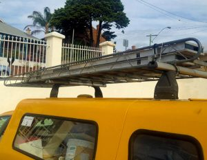 Attached to roof bars with metal cable ties